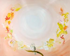Varpusen Siipipiste (Ling Tai) avautuu, öljy mdf- levylle, 100 x 122 cm, 2013, 1700e